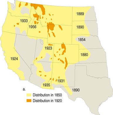 Grizzly Bear History Western Wildlife Outreach - Us wildlife map of the 1400s